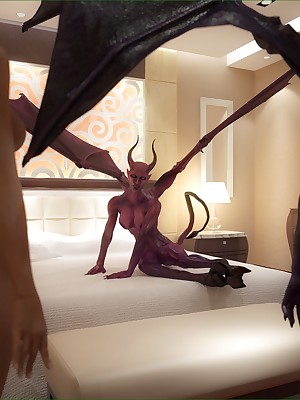 Weirdo incubus together with slutty succubus strip waiting a poor bombshell.