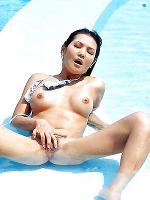 My Cute Asian : Blistering asian fingers the brush pussy to glum bikini