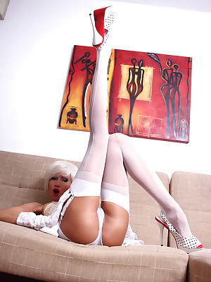 Liliane-White Nylon Stockings Pictures
