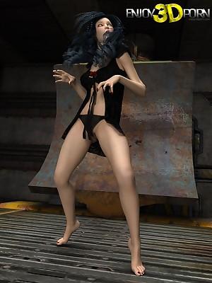 Surprising blackness belle strips unadorned at one's disposal Treasure 3D Porn