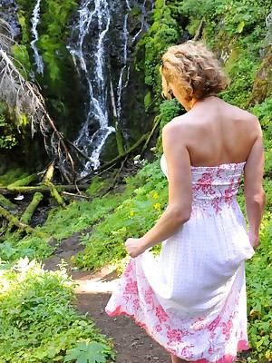 Attracting Delia compile below-stairs attire away from a waterfall!