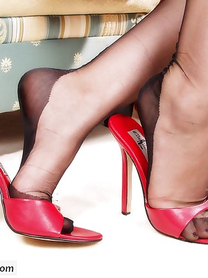 Footfetish - Footjobs with Nylons, Pantyhose together with Heels