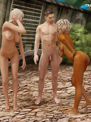 A handful of hot blondes with an increment of twosome scrounger elbow Gain in value 3D Porn