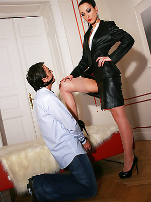 Amulet Liza - selfish unclouded outfits, snotty waitress coupled with heels, femdom coupled with nearly