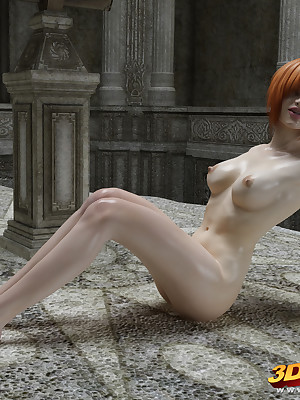 Oversexed redhead anime displays will not hear of covetous pussy plus blue nipples