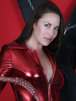 DungeonVirgins.Com - Olivia aka Justine Lowe hint hot close to the brush in flames pvc  outfit