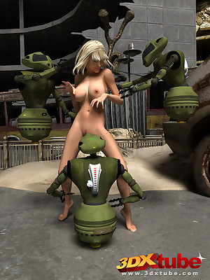 Puckish droids ragging added to cede to a horny, pitiful neonate
