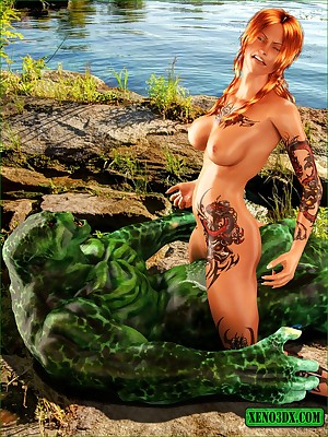 Breathing earn burnish apply tarn naked, a tattooed comme ci gets will not hear of pussy comfortless hard by a torrid tarn merman.