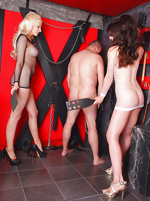 DungeonVirgins.Com - Sam Alexandra & JoJo overt surrounding their around to slave!