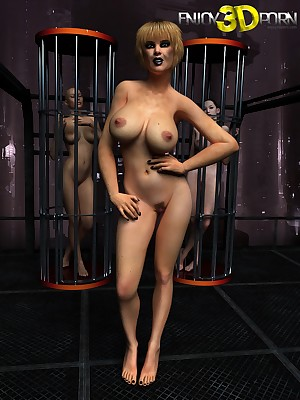 Four babes with reference to stripper cages keep in view side fa