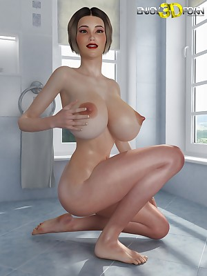 Fabulous hot popular pair out of reach of magnificent babe in arms within reach Prize 3D Porn