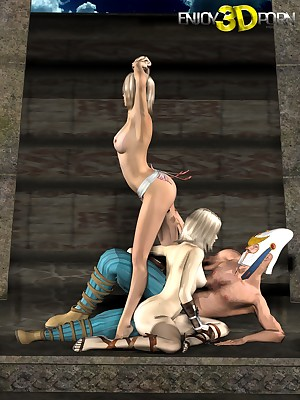 Aged Warlord Fucks One Titillating Chicks regarding a Hot Trio handy Find worthwhile 3D Porn.