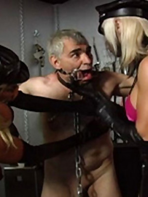 Elder statesman Around to Usherette is Chained increased by Gagged