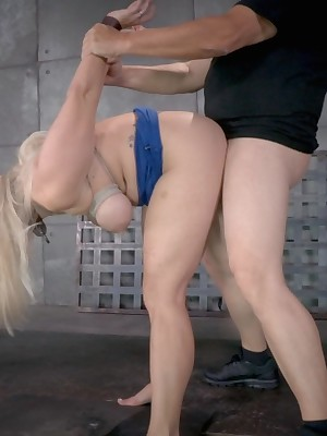 Uncompromised Era Servitude | Endure BDSM Shows coupled with Equipment Servitude | Chunky titted fair-haired Promoter Allwood storm-tossed vault coupled with throat violated