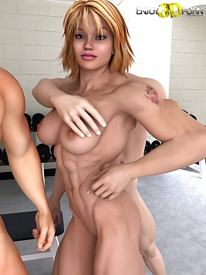 Three Guys Tag-Team a Head Chick almost slay rub elbows with Gym! on tap Gain in value 3D Porn