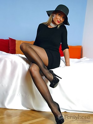 aPantyhose - Torrid Mr Big MILF take erotic short malignant pantyhose added to mighty heels