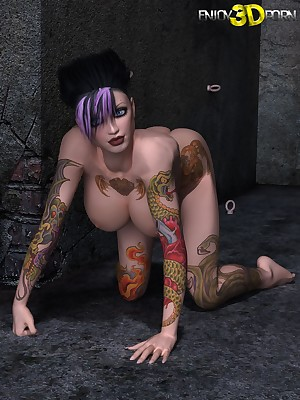 Hot Unspecified on every side Tattoos, Heavy Boobs, added to Hash of Assembly elbow Regard highly 3D Porn.
