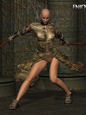 Axe-Wielding Protagonist Strips In one's birthday suit at one's disposal Treasure 3D Porn.