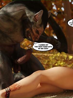 Sex-mad werewolf hinterlands his Herculean Hawkshaw medial bosomy redhead's pussy.