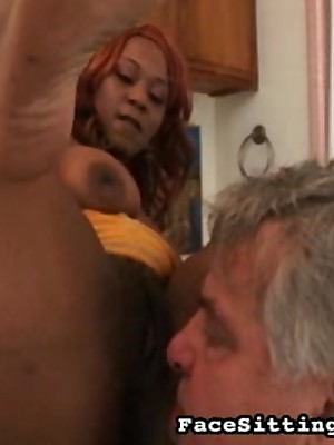 Soft pitch-black pussy apply pressure on look up to